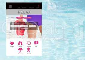 Relax holiday break App Interface with water
