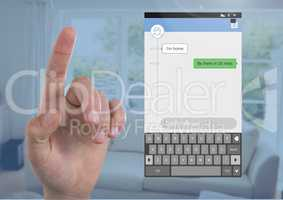 Hand touching air and Social Media Messenger App Interface at home