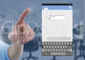Hand Touching Social Media Messenger App Interface in meeting room