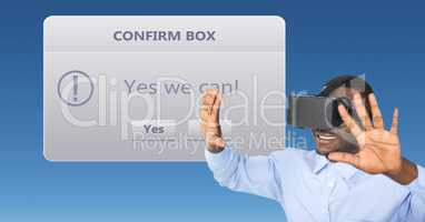 Businessman looking at confirm box on VR glasses