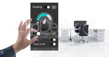 Hand touching an Office automation system heating temperature App Interface