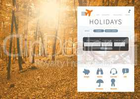 Holiday break App Interface in forest