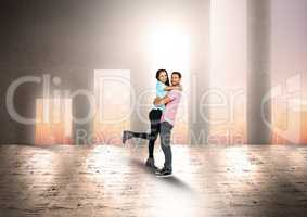 Couple embracing against bar graph shaped doorways