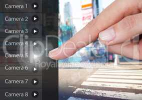 Hand Touching Security Camera App Interface street