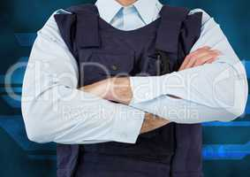 Midsection of security guard with arms crossed