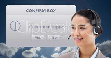 Customer support executive with dialog box