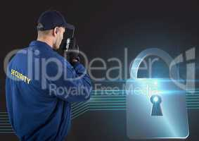 Security guard using radio with virtual lock in background