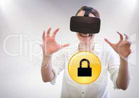Woman in VR and yellow lock graphic against white background