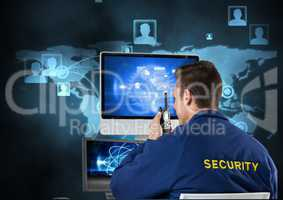 Security guard using radio and computer