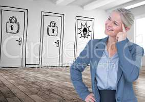 Smiling thoughtful businesswoman against drawn doors