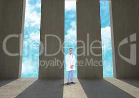 Doctor standing against doorways