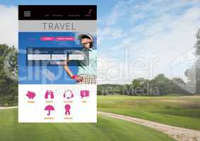 Holiday travel break App Interface with golf