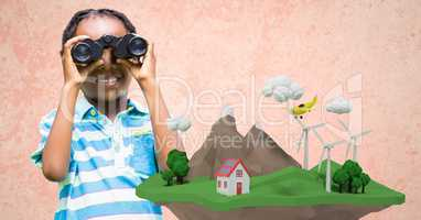Girl using binoculars with low poly cliff in front