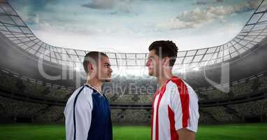 Soccer played looking at each other on field