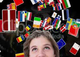 flags flaying over the woman head. earth back