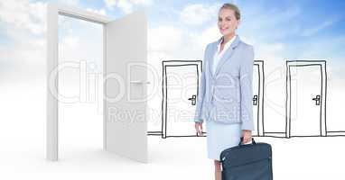 Smiling businesswoman holding briefcase against real and drawn doors