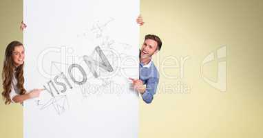 Happy man and woman pointing at diagrams on bill board