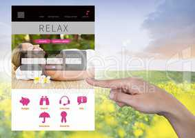 Hand Touching Relaxing holiday break App Interface with meadow