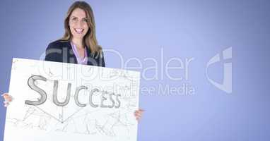 Portrait of businesswoman holding billboard with success text against blue background