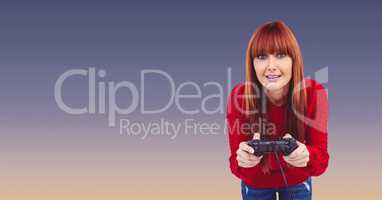 Female hipster with red hair playing video game