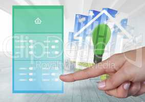 Hand touching a Home automation system App Interface