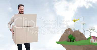 Delivery man carrying parcel by low poly cliff