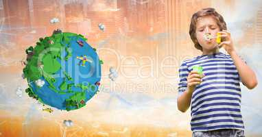 Boy playing with soap bubbles by low poly earth