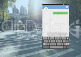 Social Media Messenger App Interface on street road pick up