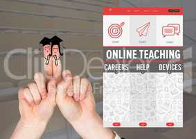 Finger graduate characters and an Online teaching App Interface