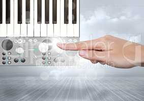 Hand Touching Sound Music and Audio production engineering App Interface