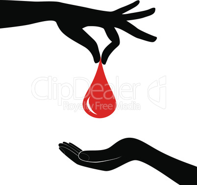 Blood donation concept. Drop of blood hold in hand giving the heart. Vector illustrations flat design. Donor day. Medical background.
