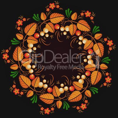 Wreath russian style khokhloma