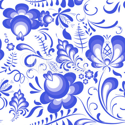 Vector blue floral seamless pattern in russian style gzhel