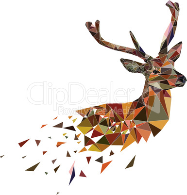 Multicolor polygonal deer
