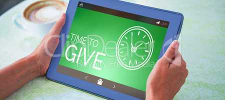 Composite image of time to give text with clock icon on green screen