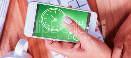 Composite image of digitally generated image of time to give text with clock icon