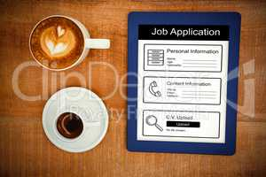 Composite image of informations for job application