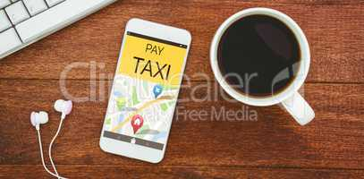 Composite image of vector image of pay taxi text with map