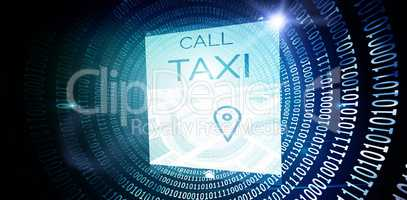 Composite image of vector image of call taxi text with map