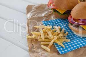 Close-up of hamburger and french fries
