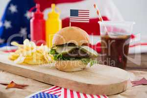 Food and cold drink decorated with 4th july theme