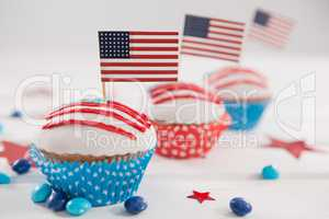 Close-up of cupcakes decorated with 4th july theme