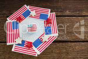American flags and sugar cookies arranged over plate