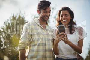 Cheerful young couple using mobile phone on sunny day at farm