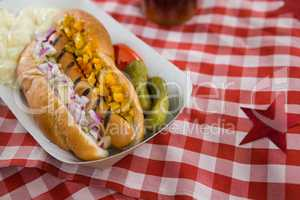 Hot dog served on table cloth