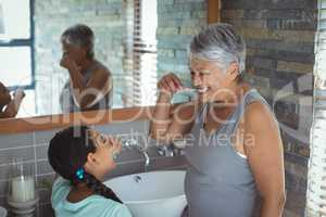 Grandmother and granddaughter brushing teeth in the bathroom