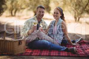 Young couple holding wine glasses while sitting on field at olive farm