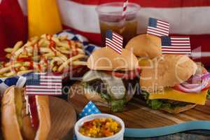 Hot dog and hamburgers decorated with 4th july theme