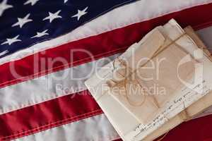 Legal documents arranged on American flag