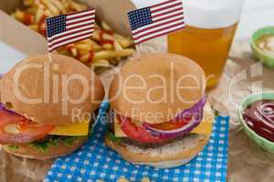 Hamburgers decorated with 4th july theme